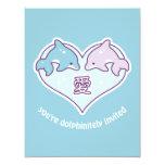 Cute Dolphin Birthday Party Invitations