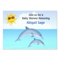 Cute Dolphin Ocean Baby Shower Invitation