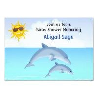Cute Dolphin Ocean Baby Shower Invitation