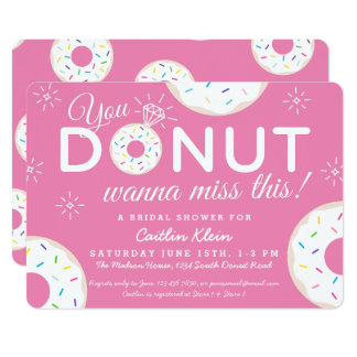 Cute Donut Bridal Shower Invitations Pink