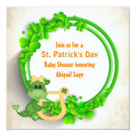 Cute Dragon St Patrick's Day Girls Baby Shower Invitation
