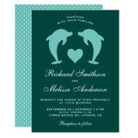 Cute Elegant Romantic Dolphins Wedding Invitation
