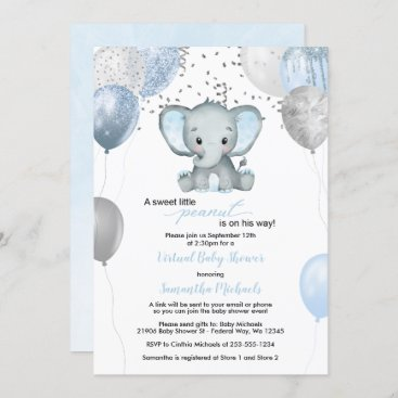 Cute Elephant Boy Balloons Virtual Baby Shower Invitation
