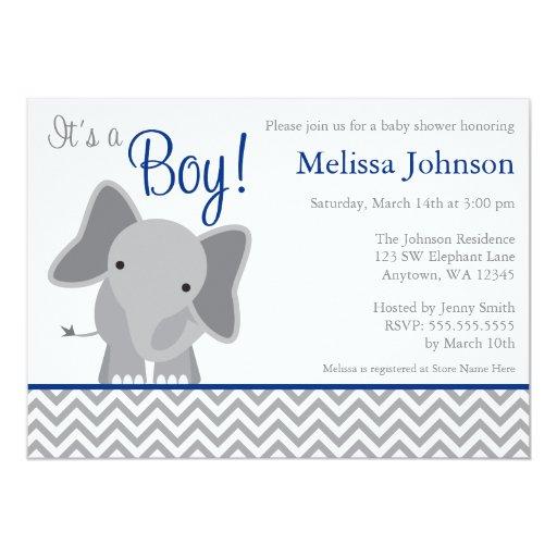 Blue Gray Baby Shower Invitations