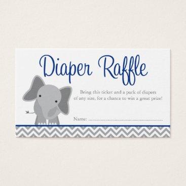 Cute Elephant Chevron Navy Diaper Raffle Ticket