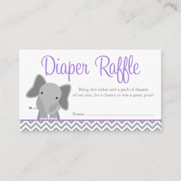 Cute Elephant Chevron Purple Diaper Raffle Ticket Enclosure Card