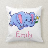 Cute Elephant with Flower Jungle Animal Kids Name Throw Pillow