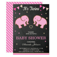 Cute Elephants Twin Girls Baby Shower Invitation