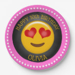 Cute Emoji Girl's Birthday Party Paper Plate
