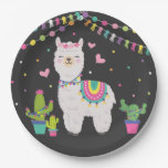 ❤️ Cute Fiesta Llama Baby Girl Birthday Party Decor Paper Plate