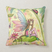 Cute Flower Fairy and Ladybug in Garden Throw Pillow