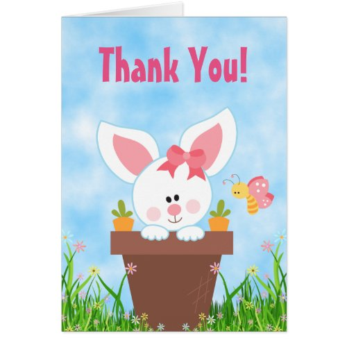 Cute Flower Pot Girl Bunny Thank You Card