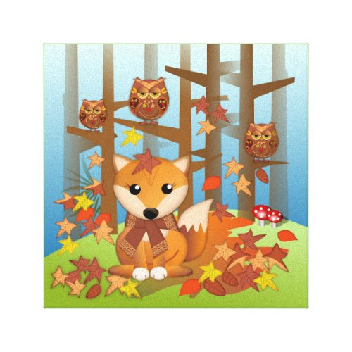 Cute fox and owl in autumn canvas print