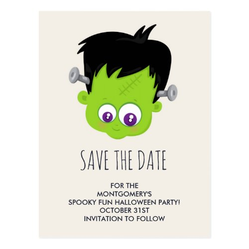 Cute Frankenstein Monster Halloween Save the Date Postcard