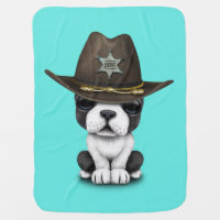 Cute French Bulldog Puppy Sheriff Baby Blanket