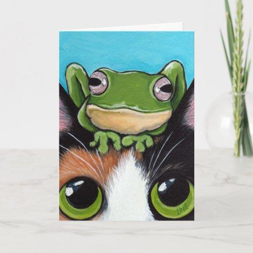 Cute Frog and Tortoiseshell Cat Greeting Card