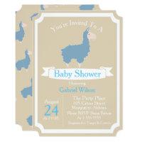 Cute Funny Blue Llama Baby Boy Baby Shower Card