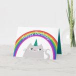 ❤️ Sweet Unicorn Cat & Rainbow Birthday Card