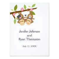 cute funny monkey couple wedding Invitation
