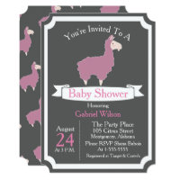 Cute Funny Pink Llama Baby Girl Baby Shower Card
