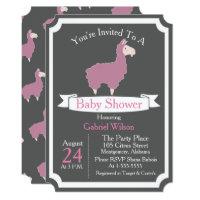 Cute Funny Pink Llama Baby Girl Baby Shower Card