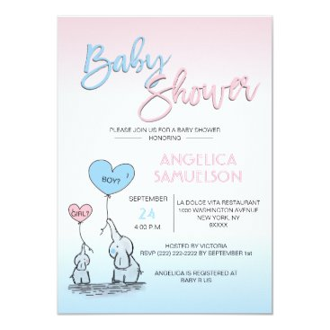 Cute Gender Reveal Neutral Elephant Baby Shower Invitation