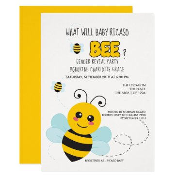 Cute Gender Reveal What Will Baby Bee Baby Shower Card