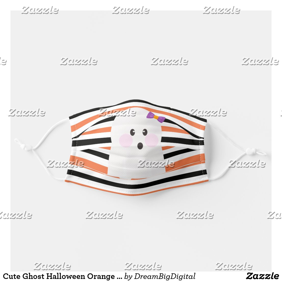 Cute Ghost Halloween Orange Stripes Cloth Face Mask
