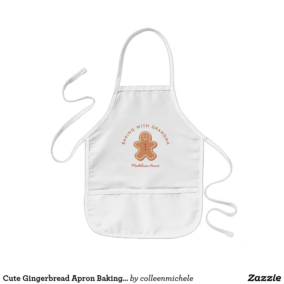 Cute Gingerbread Apron Baking with Grandma
