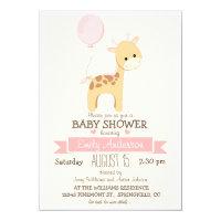 Cute Girl Giraffe, Jungle Zoo Animal Baby Shower Card