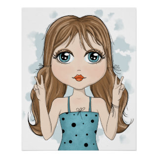 Cute Girl Peace Graphic Illustration Drawing Poster