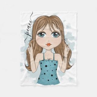 Cute Girl Peace Graphic Illustration Fleece Blanket