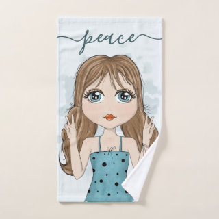 Cute Girl Peace Graphic Illustration Hand Towel
