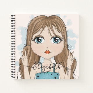 Cute Girl Peace Graphic Illustration Personalized Notebook
