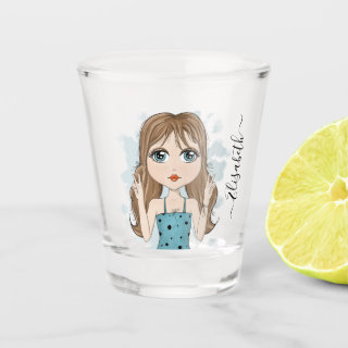 Cute Girl Peace Graphic Illustration Personalized Shot Glass