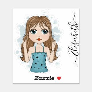 Cute Girl Peace Graphic Illustration Personalized Sticker
