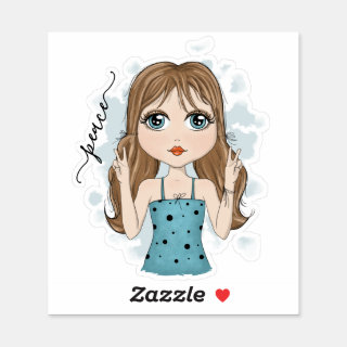 Cute Girl Peace Graphic Illustration Sticker
