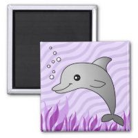 Cute Grey Dolphin in Purple Water Magnet