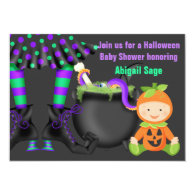 Cute Halloween Neutral Baby Shower Invitation