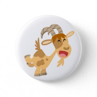 Cute Happy Cartoon Goat Buton Badge button
