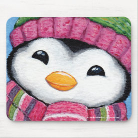 Cute Happy Penguin Dressed for Winter Mouse Pad