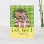 Cute Hedgehog, Get Well Soon Card
