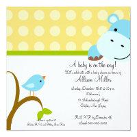Cute Hippo & Birdie Baby Shower Card