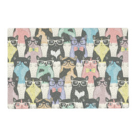 Cute Hipster Cats Pattern Laminated Place Mat