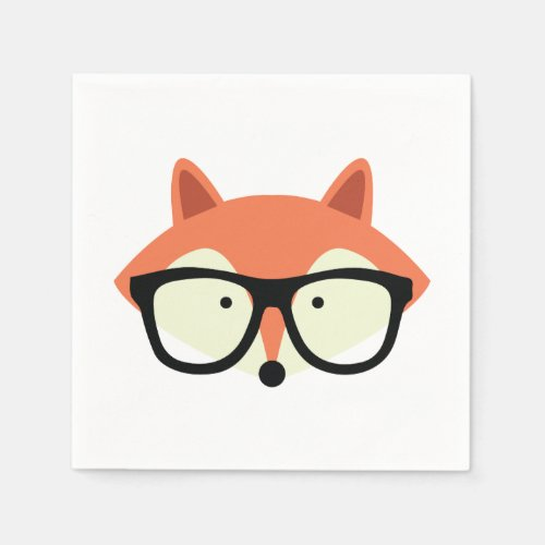 Cute Hipster Red Fox Napkin
