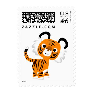 Cute Inquisitive Cartoon Tiger Postage Stamp stamp
