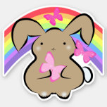 Cute Kawaii bunny, pink butterflies and rainbow Sticker
