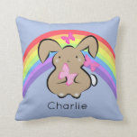 Cute kawaii bunny rabbit blue personalised throw pillow