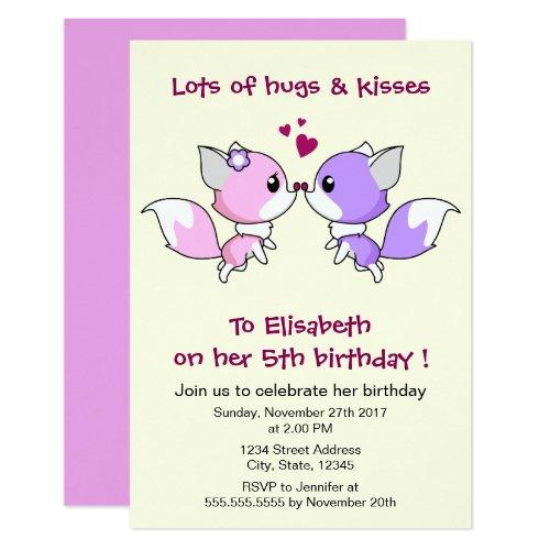 Cute kawaii foxes cartoon girl birthday party invitation
