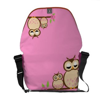 Cute kawaii mother and baby owl messenger bags